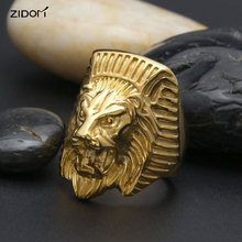 Stainless steel Men Ring Hip hop Punk Style fashion Gold Color Lion Head Animal shape Rings men vintage Jewelry Size 8-11(China)