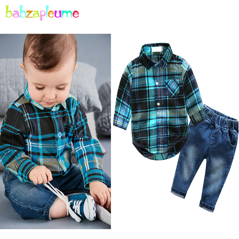 2Piece/Spring Autumn New Born Baby Clothes Suits Gentleman Jumpsuit Fashion Plaid Rompers+Pants Infant Boys Clothing Sets BC1328