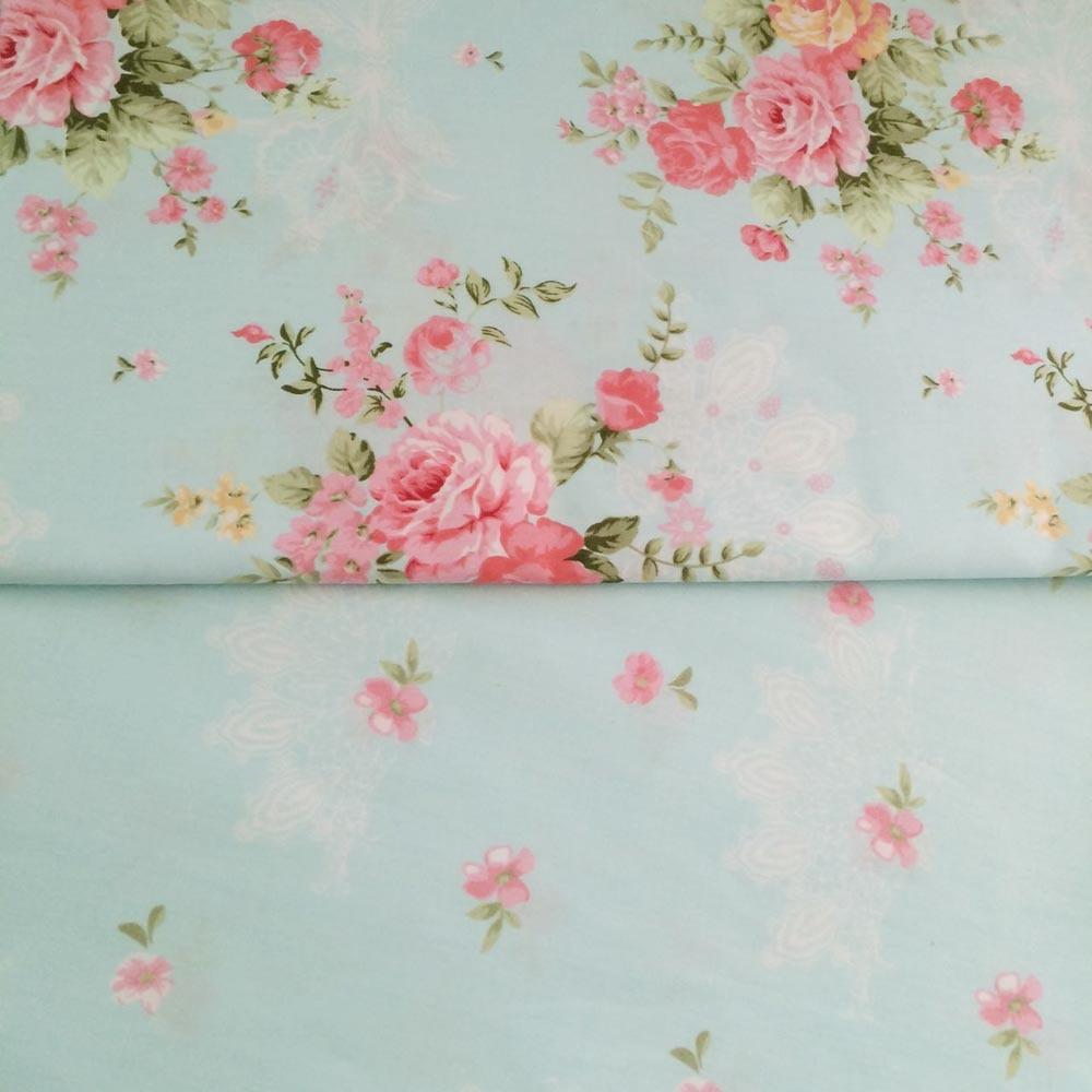100% cotton fresh elegant Blue floral pastoral flower twill cloth ...