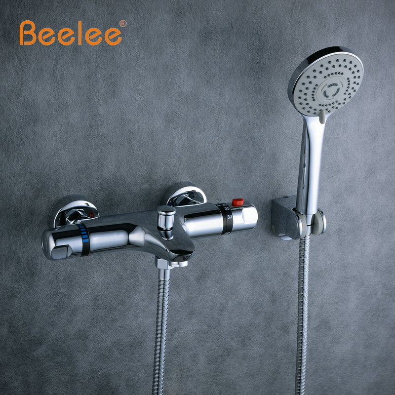 Beelee NEW Shower Faucet Set Bathroom Thermostatic Faucet Chrome Finish Mixer Tap W/ ABS Handheld Shower Wall Mounted BL0205 new us free shipping simple style golden finish bathtub faucet mixer tap shower faucet w ceramics handheld shower wall mounted
