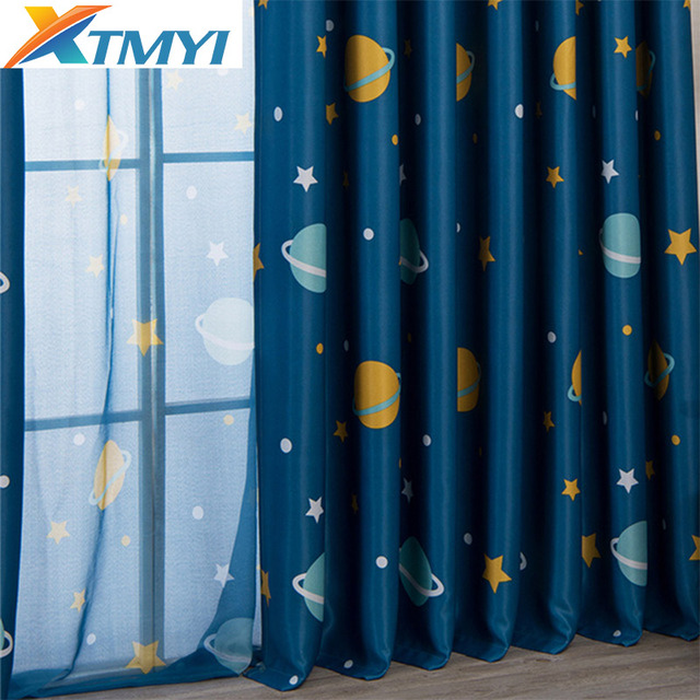 Cartoon moon Blackout Curtains For Kids Room Children Curtains For Children Bedroom Living Room Window Curtain For Child