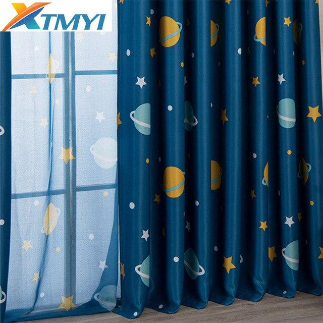 Cortinas de luna de dibujos animados para habitación de niños ...