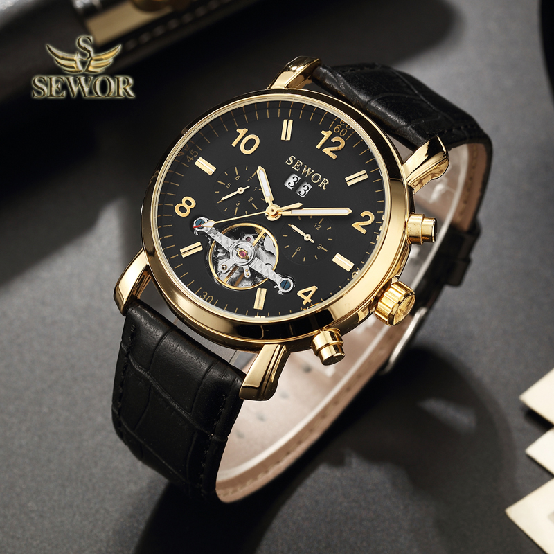 SEWOR Luxury Brand 2019 New Fashion Tourbillon Automatic Mechanical Men Sport Wrist Watch BLACK GOLD C393SEWOR Luxury Brand 2019 New Fashion Tourbillon Automatic Mechanical Men Sport Wrist Watch BLACK GOLD C393
