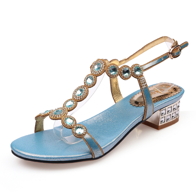 Ekoak Size 35-43 New 2017 Summer Rhinestone Women Sandals Ladies Sexy Party Shoes Fashion T-Strap Med Heel Women Shoes