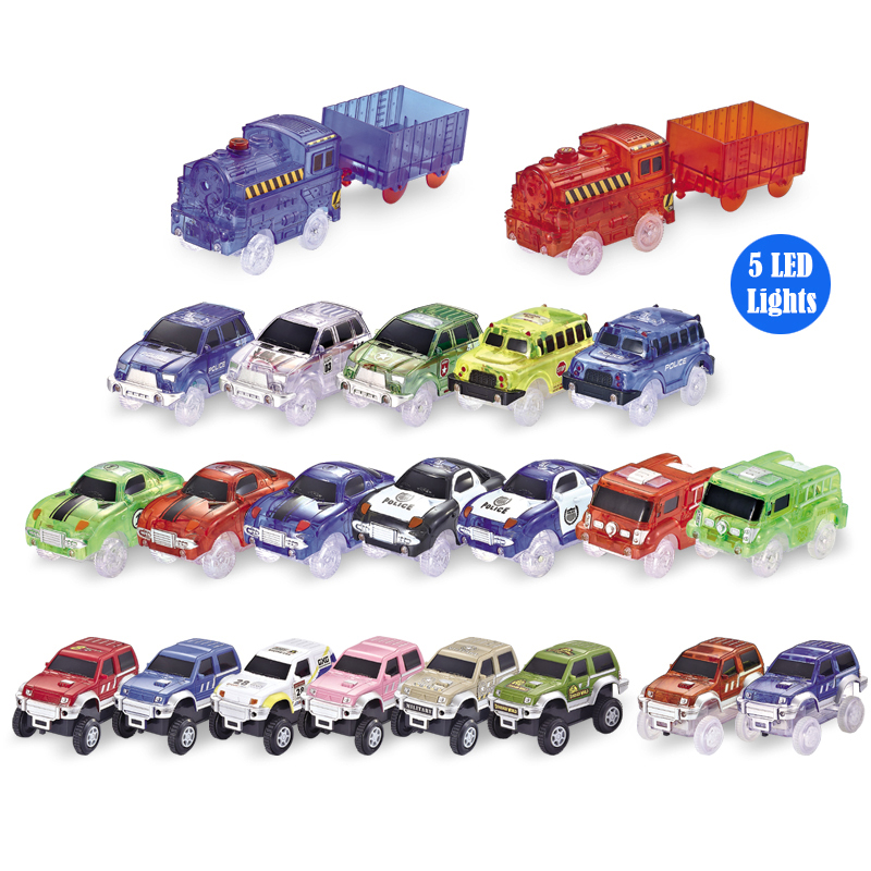 Tracks Cars LED Light Electronics Car Tracks Toy Parts 5 Colorful Lights Children's Toys For Boys Puzzle Toys Car Birthday Gifts