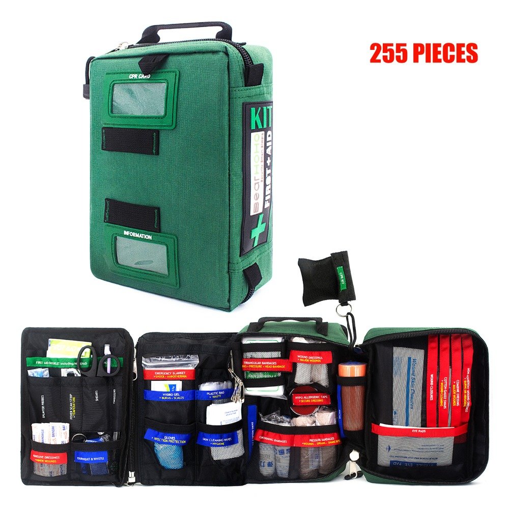 255pcs Large Size Handy First Aid Kit Bag Emergency Kit Medical Rescue Bag for Workplace Home