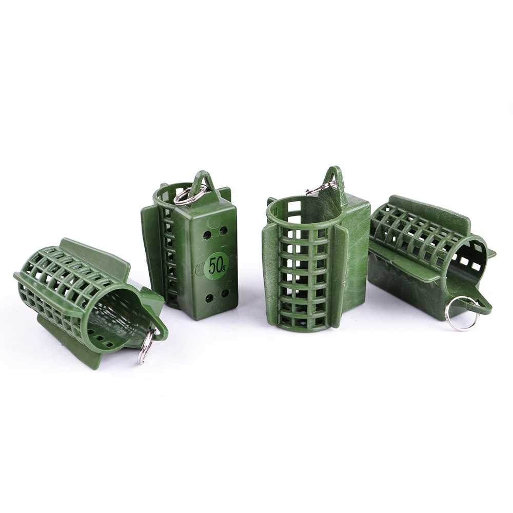 FISH KING 1PC 30G 40G 50G 60G 70G Plastic Bait Cage Carp Fishing Trap Basket Feeder Holder Wire Cage Fish Hook Accessories