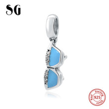b8fa061c8 2018 Real 925 Sterling Silver beads blue enamel glasses charms Fit  Authentic pandora Charm bracelet fashion jewelry accessories