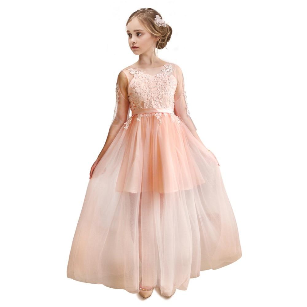 Children's 2019 New Big Girl Teenager 's Wedding Party Long Sleeve Princess Dress European American Mesh Dress Birthday Dress