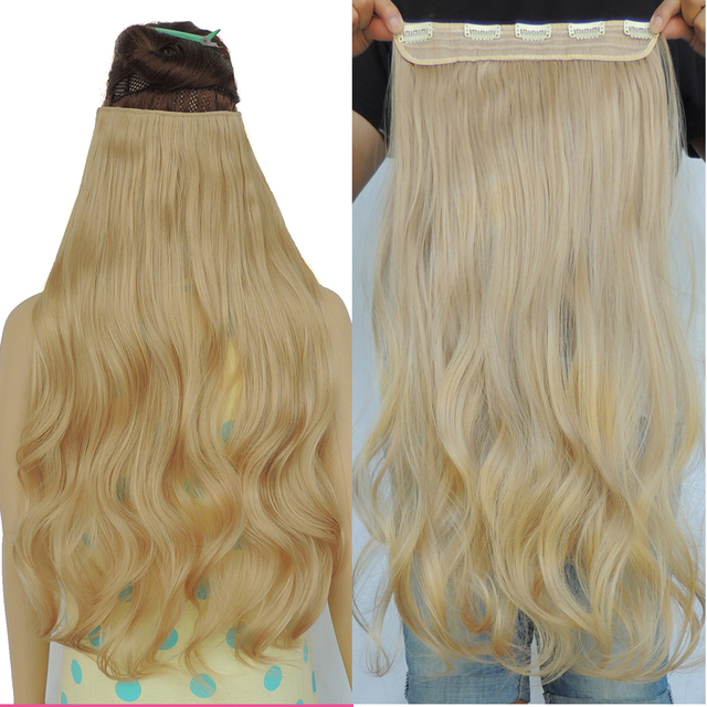Noble Gold Hair Extensions Piece 24 Inch Curly Weave Synthetic Mega