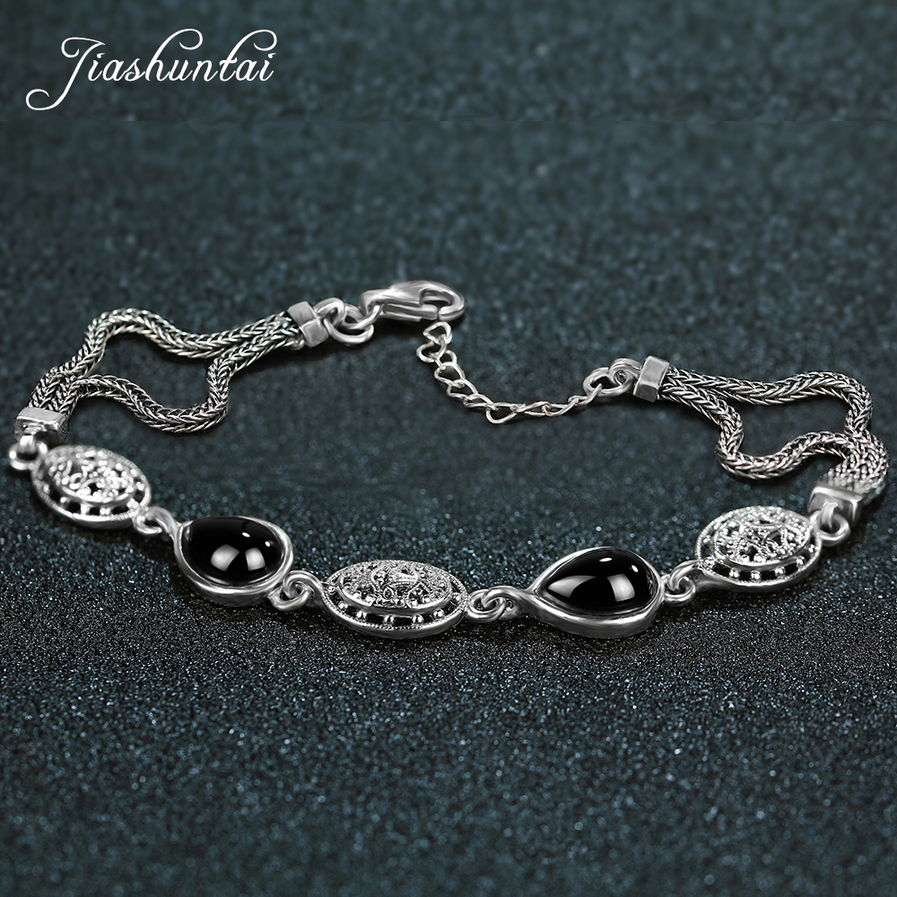 JIASHUNTAI Retro 100% 925 Sterling Silver Bracelets For Women Vintage Silver Jewelry Female vintage retro 100