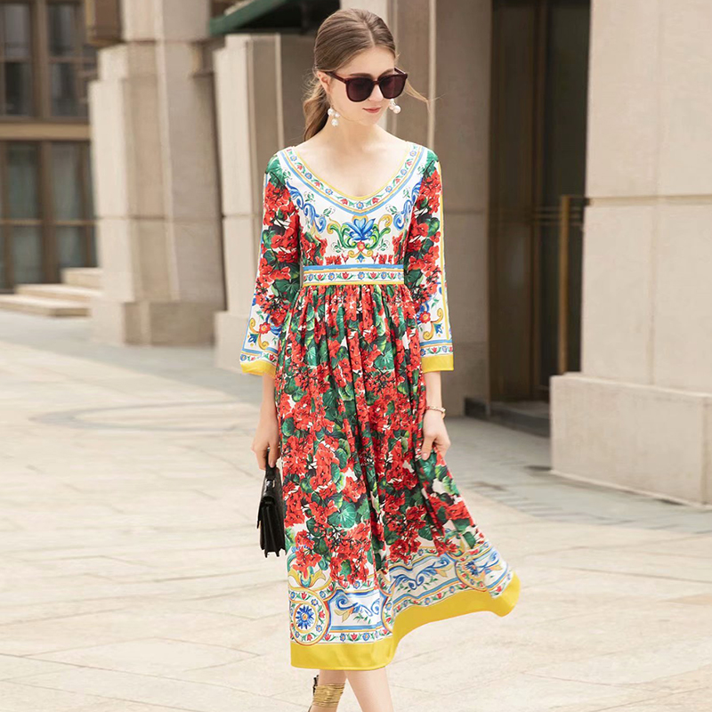 2019 Spring Pretty Print Long Dress High Quality Sweet V neck Three Quarter Sleeve Mid Calf