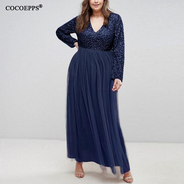 5XL 6XL Sequin Gauze Plus Size Women Long Dress Sexy Mesh Maxi Evening Party Dress Winter Elegant Big Large size Dress Vestidos