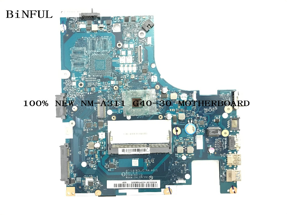 BiNFUL HOT IN BRAZIL PERU Ecuador ..100% NEW <font><b>NM</b></font>-<font><b>A311</b></font> ACLU9 ACLU0 LAPTOP MOTHERBOARD FOR LENOVO G40-30 NOTEBOOK PC image