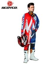 SCOYCO Гонки На Мотоциклах Одежда Комбинации Мотокросс Off-Road Dirt Bike DH Джерси + Хип Колодки Брюки + Полный Палец перчатки Набор