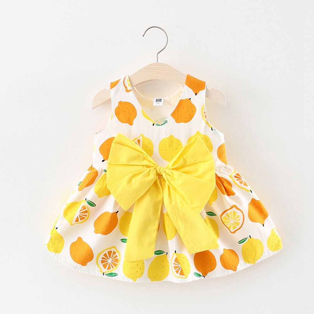 6M-3T Baby Girls Sundress Lemon Printed Kids Clothes for Summer Bebe Clothing Infant Tank dress 9 12 18 24 Yellow