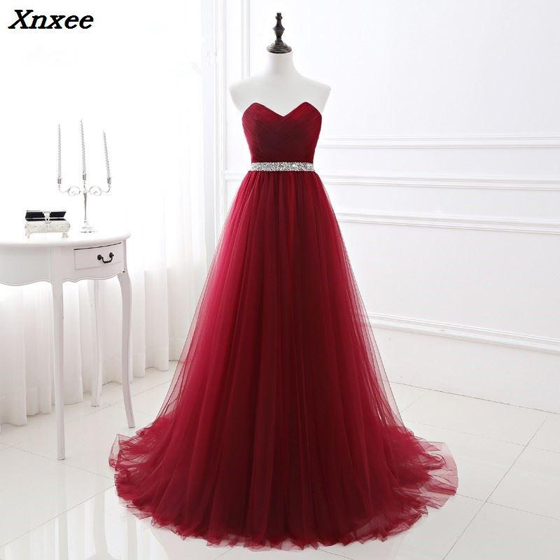 2018 Elegant Maxi Dress Women for Wedding Party Burgundy Strapless Long Dresses Evening Prom Party Dresses