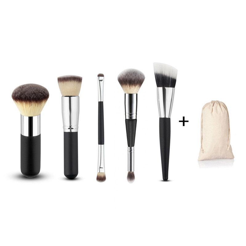 5Pcs Brushes Set Professional Soft Makeup Foundation Brush For Eye Face Shadows Lip Liner Powder Make Up Tools + Cloth Bag 10pcs tooth brush shape oval makeup brush set multipurpose makeup brushes professional foundation powder brush kits make up tool