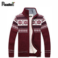 Мужской зимний плюс бархат утолщение кардиган пальто мужской моды случайные водолазку sweter Мужчины рождественские цветы шаблон свитер