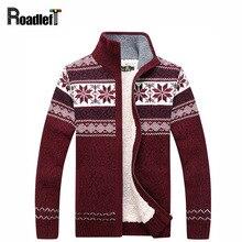 Мужская зимняя плюс бархат утолщение пальто кардиган Для мужчин Модная Повседневная водолазка sweter Для мужчин Рождественские цветы узор свитер