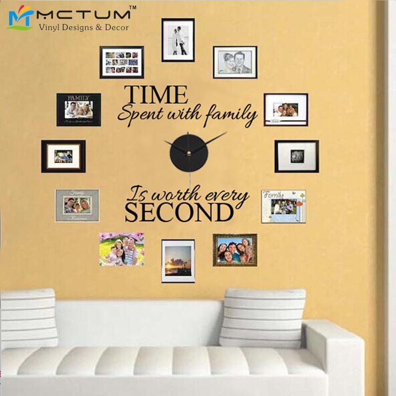 """3D Reloj de Pared Etiqueta Engomada DIY Diseño Moderno """"Tiempo Con ..."""