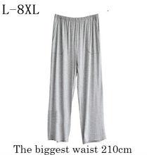 Plus size L 8XL pajama bottoms pijama hombre 2018 summer autumn men loose high waist sleepwear elastic soft modal lounge pyjamas