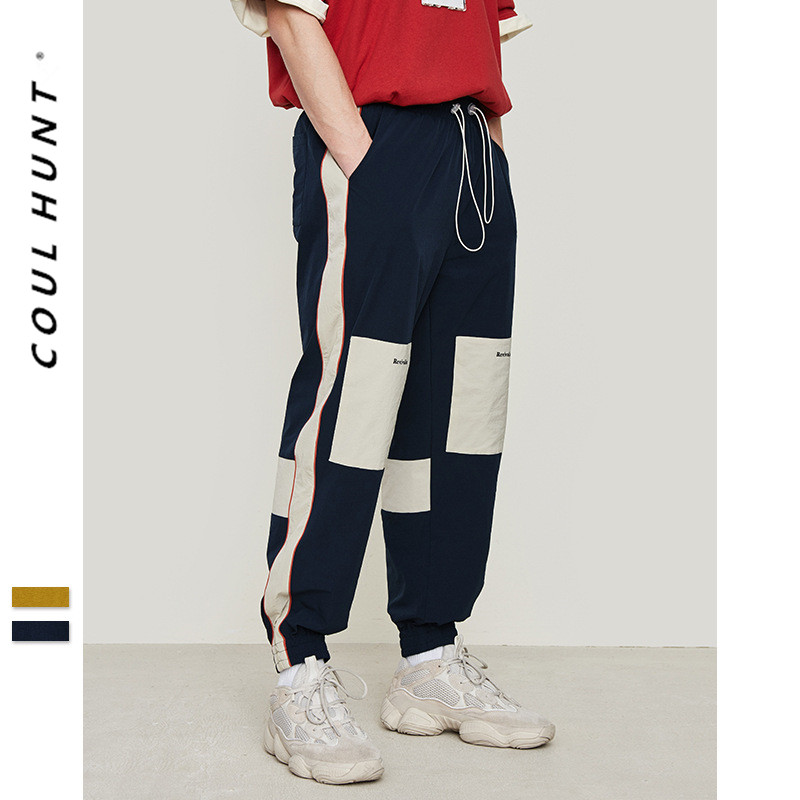2019 SS Skateboard Side Stripe Cargo Pants High Street Color Block Patchwork Pant Hip Hop Sportswear Drawstring Trousers