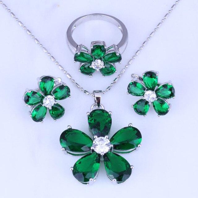 c0ce12bd9a90 Amor Monólogo Simple Imitación Verde Esmeralda Flor Aretes Collar Colgante  de Color Plata Anillo de Joyería