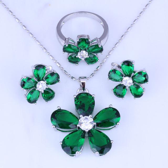 Simple Verde Esmeralda de Imitación Aro de La Flor Pendientes/Collar/Anillo Plateado Joyería de La Boda Establece H0248