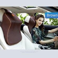Кожа + 3D пены памяти подушка для шеи автомобиля Регулируемая подголовник авто подголовник дорожная подушка с для Renault Volvo Citroen