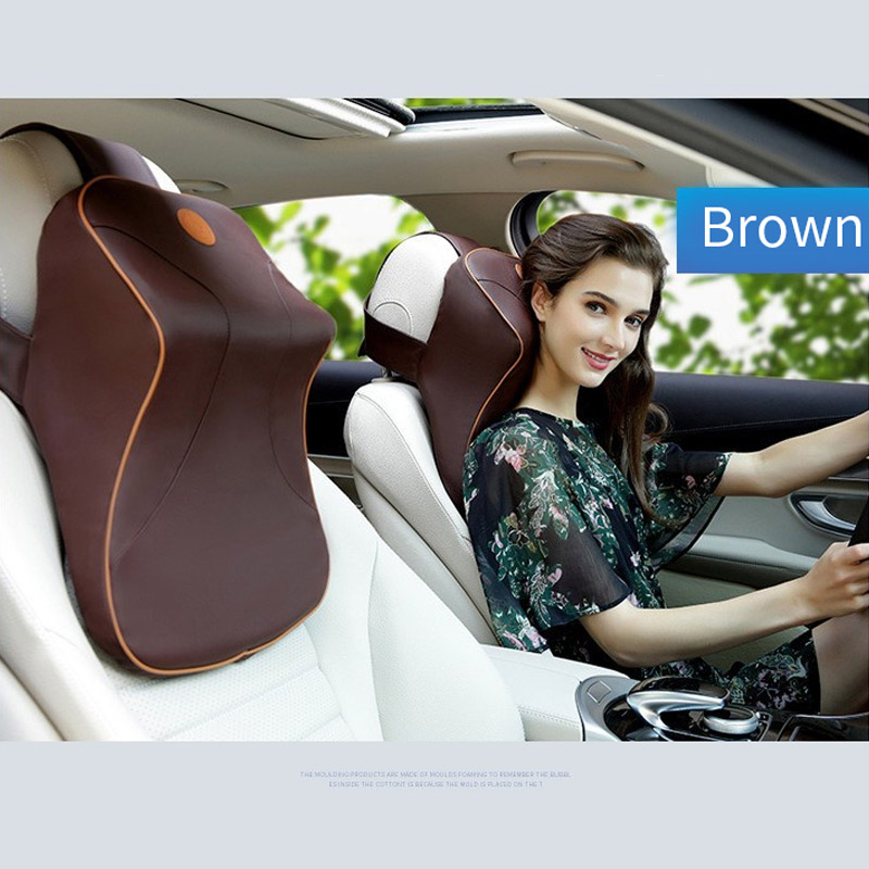 Leather+3D Memory Foam Car Neck Pillow Adjustable Head Restraint Auto Headrest Travel Pillow with For Renault Volvo Citroen-in Neck Pillow from Automobiles & Motorcycles