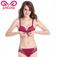 GIRLADY Women Thick Padded Push Up Bra Brief Set Solid Color Front Closure Deep V Sexy