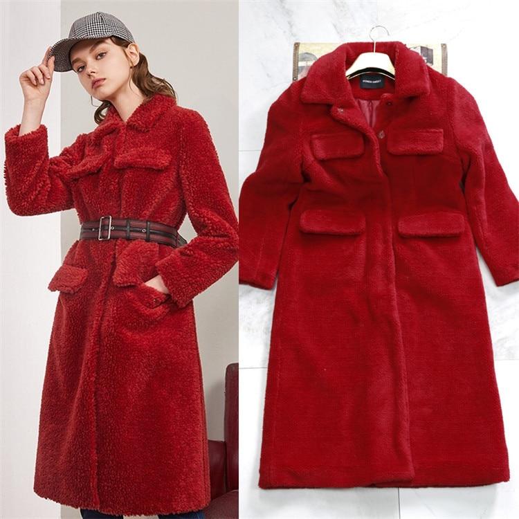 Rouge Femmes À Femme Veste D hiver Long Manteaux Chaud Fausse Épais Peluche  De blanc Faux Vison Le En Manteau Fourrure Tunr Mince ... caa18a0d1dcb