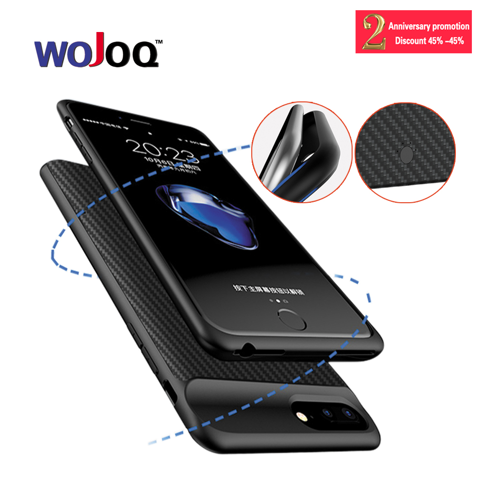 WOJOQ Battery Charger Case For iPhone 6 6S 7 Plus External Battery Pack Backup Power Bank Charging Cover Case 2500/3700mAh
