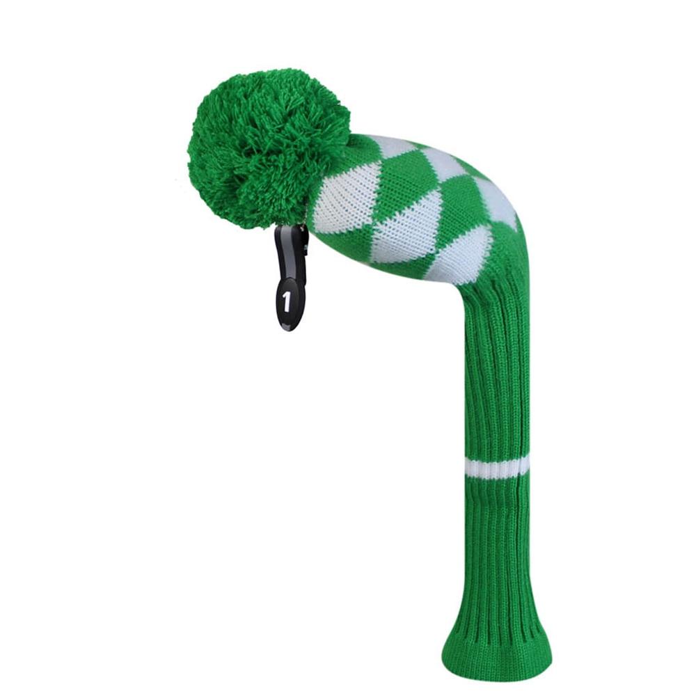 Kelly verde blanco estilo de argyle golf head cover para madera conductor 460cc