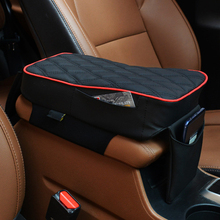 Car Armrests Pad Hollow Cotton PU Surface Armrest Box Mats Black with Red Edge Automotive Interior Accessories