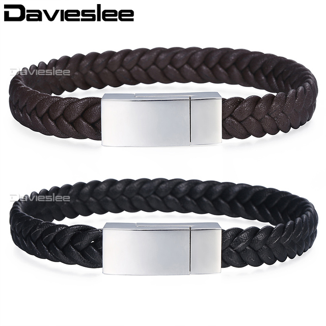 Microfiber Braided Leather Bracelets For Men Black Brown Wristband Bracelet Stainless Steel Square Magnetic Clasp