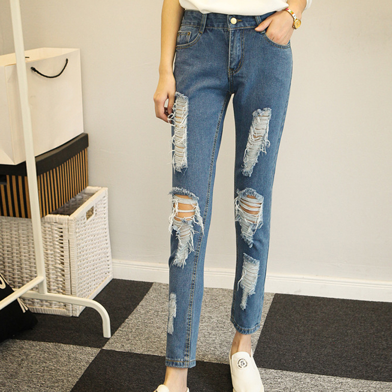 Destroyed Hole Ripped   Jeans   High Waisted Push Up   Jeans   Woman Boyfriend Fit Slim Cool Denim Vintage Straight   Jeans   ankle denim