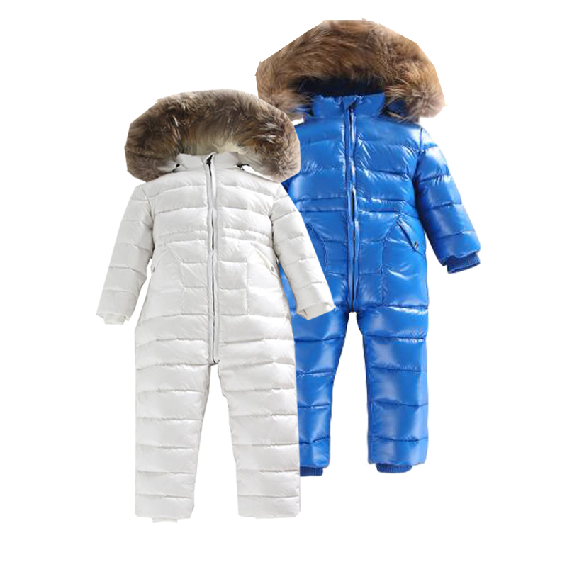 Russia Winter Baby Long Sleeves Girls   Rompers   -30 Winter 80% White Duck Domn Baby Clothes Snowsuit Outdoor Kids Jumpsuit