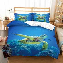3 Pieces Microfiber Seaworld Bedding Set with 2 Pillowcase 3D Printed Big Turtle in The Sea Ocean Creature Blue Duvet Cover