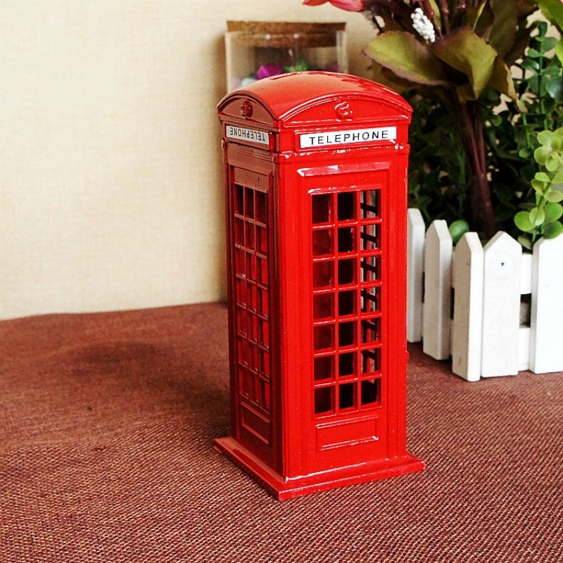 Creative London Telephone Booth Figurine Model Bank Metal Coin Box Piggy Iron Crafts Photography Props