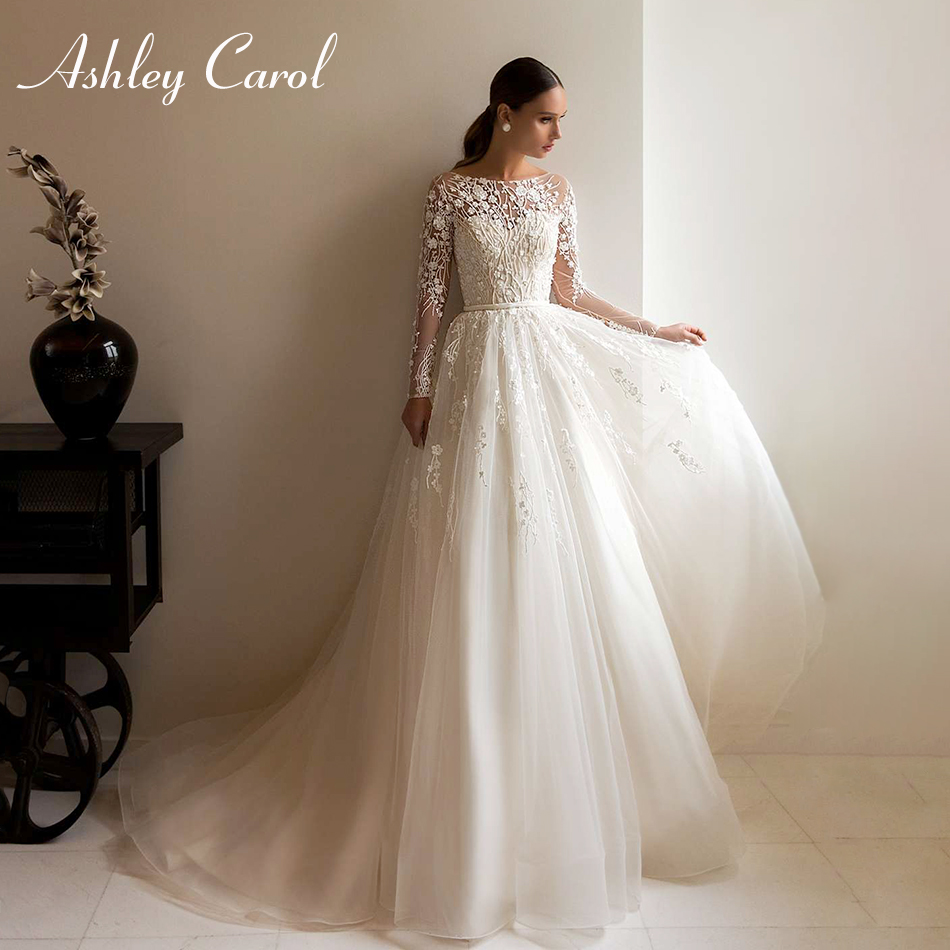 Ashley Carol Long Sleeves Wedding Dresses 2020 Vestido De Noiva Ivory A-Line Beach Scoop Appliques Button Princess Bridal Gowns