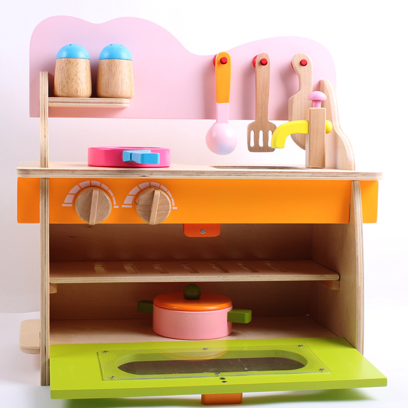 EFHH Kid Classic Toys Pretend Play Game Kitchen Toy Set Hearth Toy Removable Wooden Gas Cooker Good Quality Drop Shipping classic toys pretend play doctor toys mother garden playsets medicine toys set sxr
