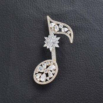 Broches de nota musical de Color plata y oro Vintage, broches de joyería de cristal de lujo para mujer, alfiler exquisito de alta calidad