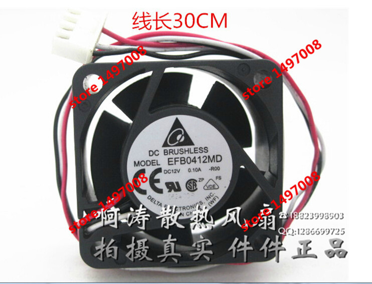 Free Shipping For DELTA  EFB0412MD, -R00 DC 12V 0.10A,  3-wire 4-pin 200mm 40x40x20mm Server Square cooling fan delta 12038 12v cooling fan afb1212ehe afb1212he afb1212hhe afb1212le afb1212she afb1212vhe afb1212me