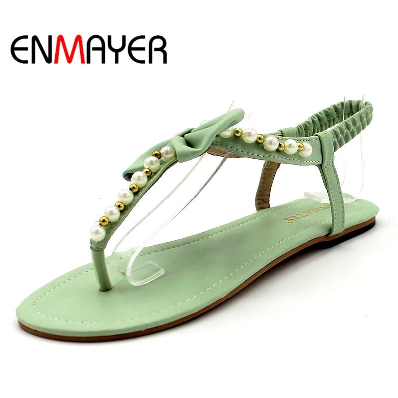 5a47b5f7f ENMAYER جديد وصول الصيف مثير جميلة الشقق يتخبط النساء الصنادل القوس الديكور  مع الإناث الصنادل أحذية النساء حجم كبير 34 -45