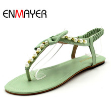 ENMAYER 2014 New Arrive Summer Sexy Beautiful Flats Flops Women Sandals bow Beading with female sandals size 34-45