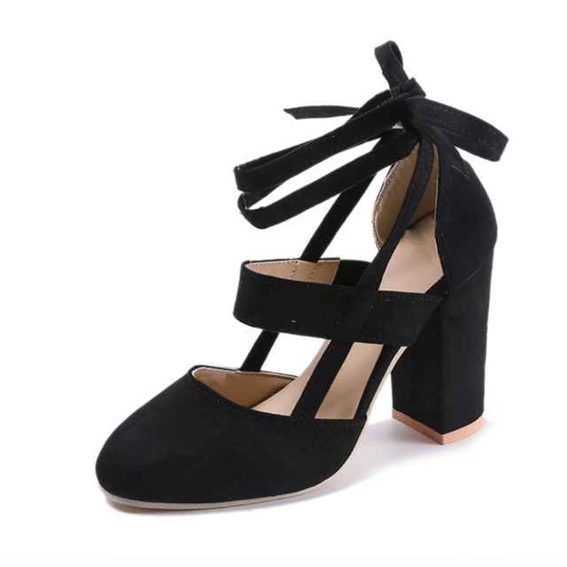 MCCKLE Plus Size Women Fashion Block High Heels Pumps Female Two Piece Ankle Strap Butterfly knot Sweet Shoes Drop shipping
