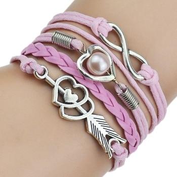 9 Color 2017 New Fashion Love Leather Bracelet Bead Heart Arrow Bracelets for Women Man High Quality Bracelet Best Birthday Gift 5