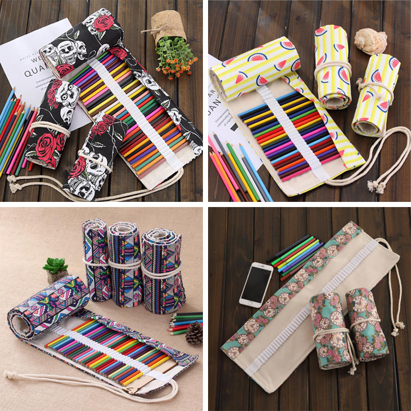2016 Colorful National Style Pencil Case Stationery Box Estojo Portable Canvas Pen Roll Up Bag For School Penalties  04868-4 2 3 4 layers high quality large capacity canvas pencil case drawing pens pencil bag portable pencil box school penalties 04856